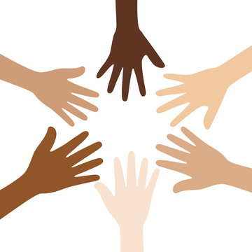 Flat vector illustration of people with different skin colors putting their hands together. Unity concept.