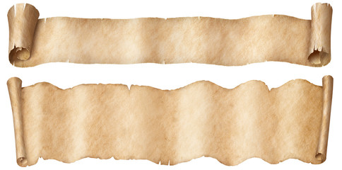 Wall Mural - Narrow old papers fantasy style scroll banners set isolated on white