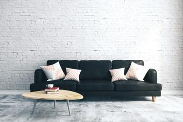 Modern brick living room - fototapety na wymiar