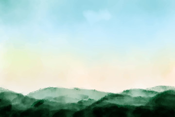 beautiful sunrise mountain landscape watercolor background