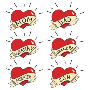 Old School Tattoo vector set isolated on white background. Heart with ribbon and the words mom, dad, daughter, son, grandpa and grandnny.
