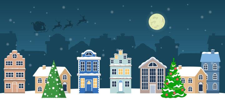 Christmas winter town vector illustration