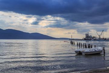 Sunset on aegean sea in Akyaka, Mugla, Turkey