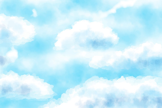 blue watercolor cloudy blue sky background