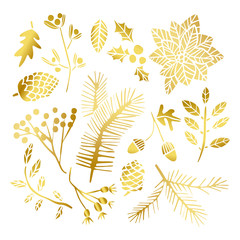 Gold leaf winter set. Christmas golden leaves. Holiday winter flower elements