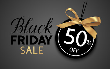 Wall Mural -  Black friday sale design template. Decorative price tag with golden bow. Vector illustration
