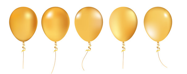 Realistic 3D Gold helium balloons on white background. Set of shiny balloons for your design. Gold balloon set