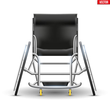 Sport Wheelchair Paralympic Equipment. Original Design Classic model for disability athletes. Front view. Vector Illustration isolated on white background