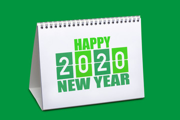 2020 desk calendar for template isolated on green