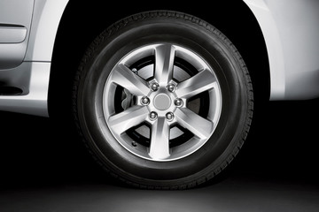 Silver Alloy wheel and brake on tyre