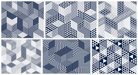 3D dotted cubes seamless patterns vector backgrounds set, dots dimensional blocks, architecture and construction, geometric designs.