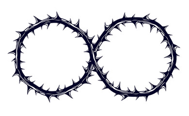 Infinity symbol made from blackthorn thorn vector sign logo or tattoo.