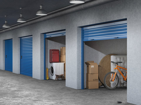 storage hall with open storages doors 3d illustration