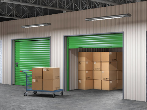 storage hall with open storages door and wheelbarrow with boxes 3d illustration