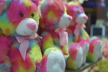 fluffy colourful teddy bears