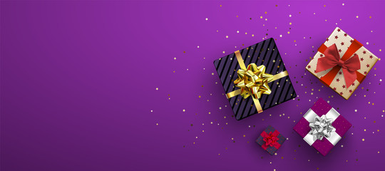 Vector festive illustration. Top view. Holiday decoration element. Birthday or anniversary present