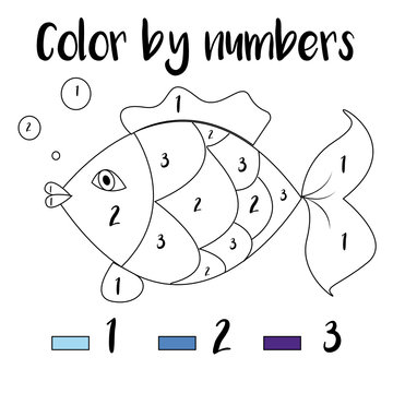 Preschool Counting Activities. Coloring page with colorful illustration. Educational game for children, toddlers and kids pre school age.
