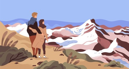Mountain rest flat vector illustration. Enamored couple, tourists, holiday makers admiring scenery cartoon characters. Travelling, outing, world watching. Opening new horizons concept.