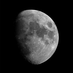 Waxing gibbous Moon phase, isolated in the black space, in this phase there are some good craters, like Copernicus, Tycho and many others.