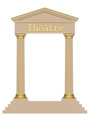 3D Ancient theater with four columns isolated on white background