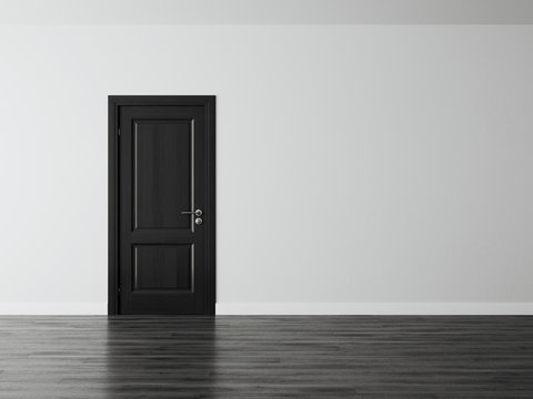 White empty space interior with black door