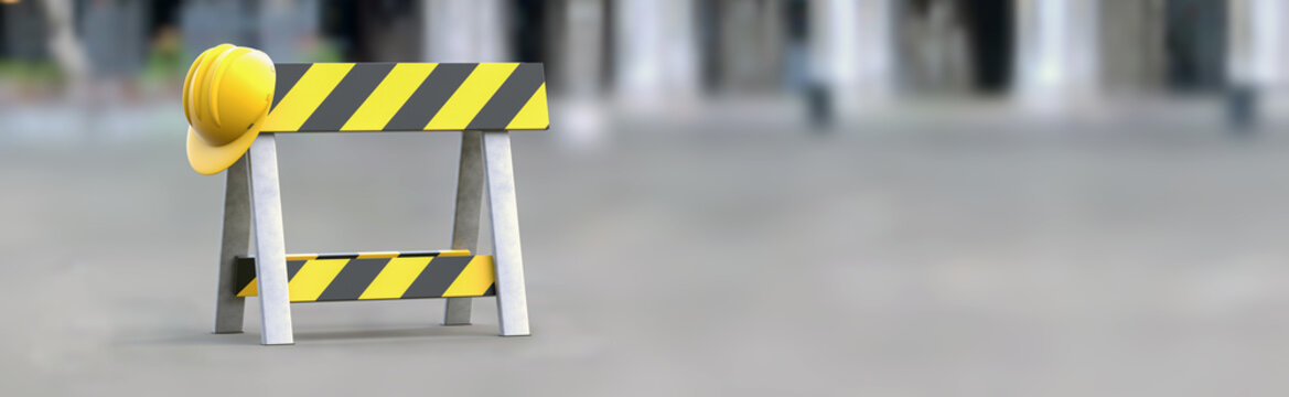 Barrier - under construction on a gray background. Horizontal banner. Road sign without intersection, road block, no crossing. 3d illustration.