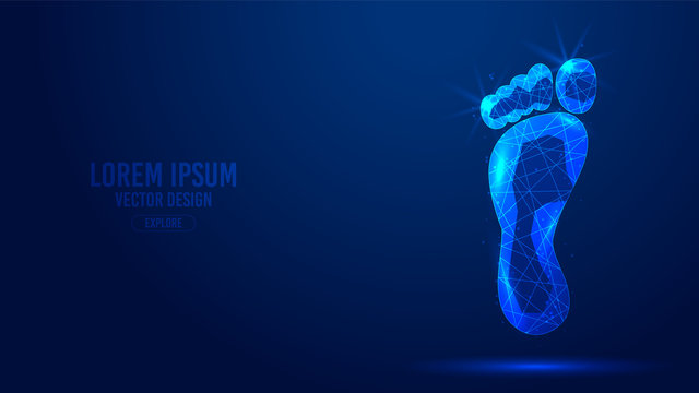 Foot feet geometric lines, low poly style wireframe vector banner template. Isolated medicine science technology concept blue background polygonal.