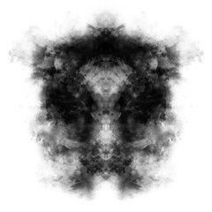 Rorschach test picture, monochrome inkblot, isolated on white background