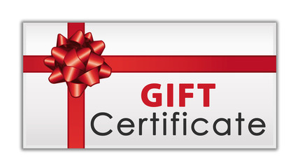 Gift certificate with red ribbon and bow. Commercial icon.