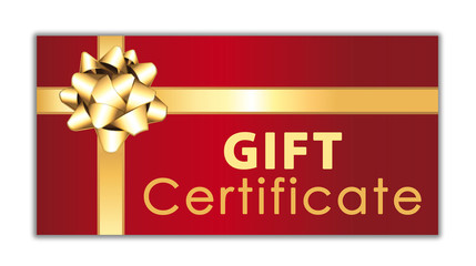 Red gift certificate with golden ribbon and bow. Commercial icon.