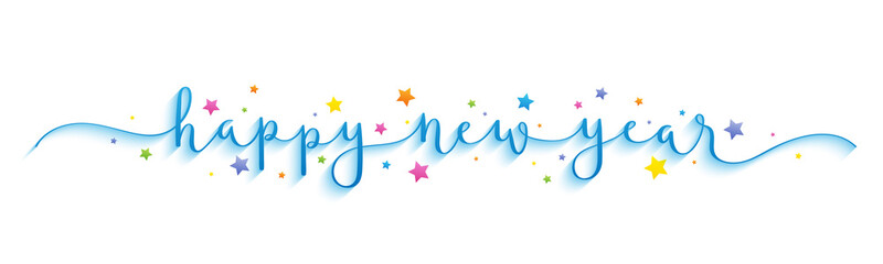 Wall Mural - HAPPY NEW YEAR vector brush calligraphy with colorful stars