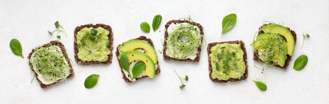 Dietary fitness toast with avocado, tofu cheese and microgreen