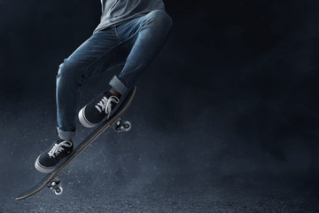 Skateboarder skateboarding on the street