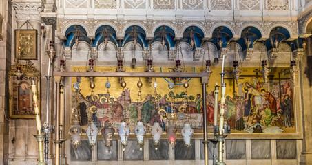 In de dag Oude gebouw Inside the Church of the Holy Sepulchre, the greatest Christian shrine in Jerusalem, Israel