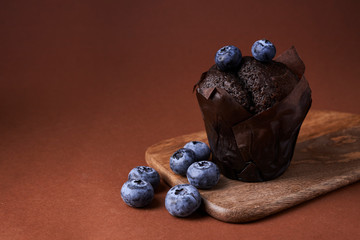 chocolate muffin with blueberry