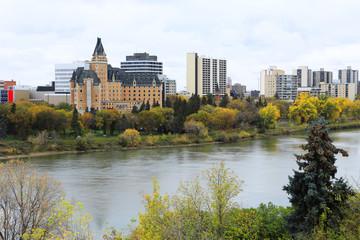 Saskatoon, Canada skyline over river