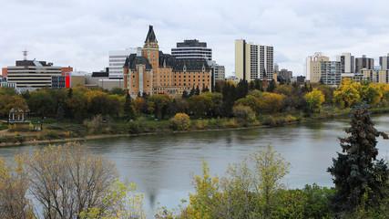 View of Saskatoon, Canada skyline over river
