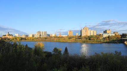Scene of Saskatoon, Canada downtown over river