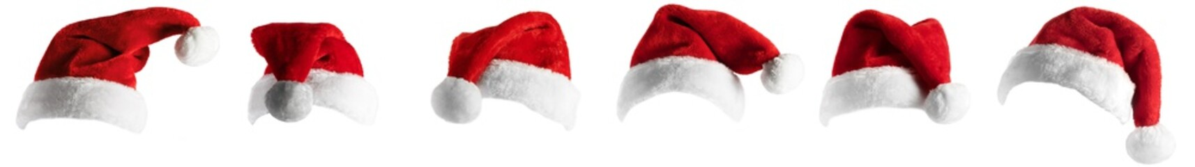 isolated santa hat collection on white Wall mural