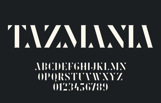 Elegant geometric stencil font with triangular elements and serifs. Vector alphabet and numbers