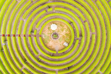 Aerial view above gigantic Maze at Rotorua, New Zealand.