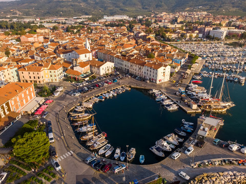 Aerial view of boat at small marina in Izola, Slovenia.