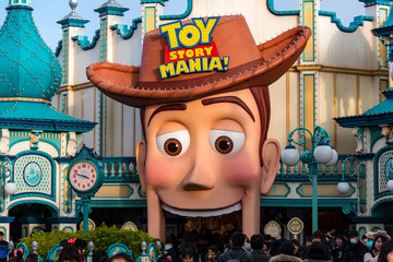 TOKYO -DEC 31: TOY STORY Mania Shop, Store in Tokyo on December 31. 2016 in Japan. Toy Story is a 1995 American computer-animated buddy comedy film produced by Pixar Animation Studios.
