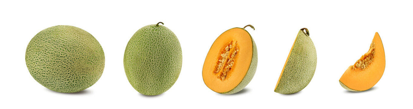 Set of some sugary cantaloupe melons in a cross-section, isolated on white background with copy space for text or images. Side view. Close-up shot.