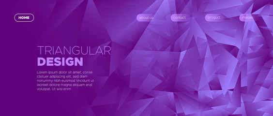 Gradient Landing Page. Graphic Polygon Wallpaper.