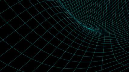 Vector perspective curved grid. Detailed lines on black background. Fotobehang