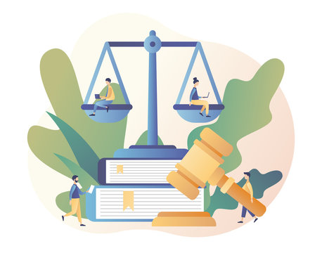 Law and Justice Concept. Justice scales, judge and judge gavel. Tiny people in the Supreme Court. Modern flat cartoon style. Vector illustration