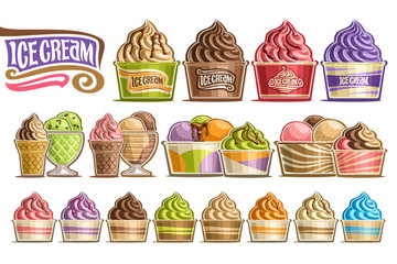 Vector set of Ice Creams, 16 cut out illustration of variety icecreams on white background, collection of different ice creams dripping sauce in plastic and glass containers with fruits ingredients.