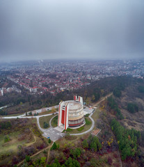 "Drone photo of ""Panorama""monument, depicting scenes of Russian-Turkish war (1887-1879) and specifically the siege and liberation of Pleven"