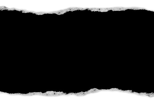White paper with torn edges isolated with a black isolated background inside.